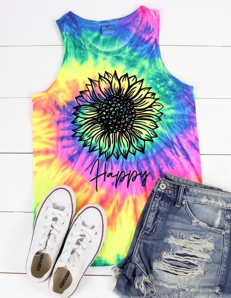 Happy Sunflower Neon Graphic Tank