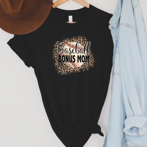 Leopard Baseball Bonus Mom Graphic Tee