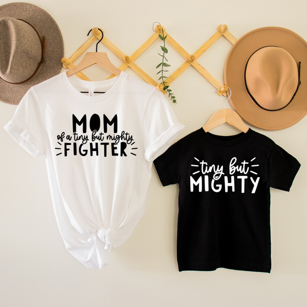 Mom of a Fighter / Tiny But Mighty Mommy & Me Graphic Tee