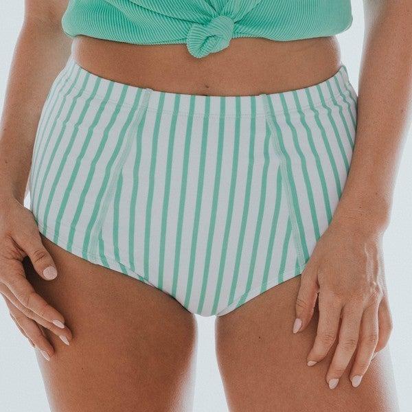 BEACH BUM - Women's Mint & White Stripe Midi Bottom