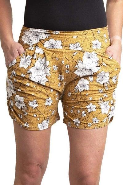 Mustard Floral Harem Shorts
