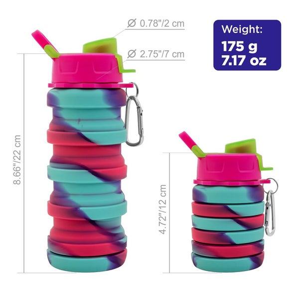 Magic Tie Dye Silicone 16oz Compact Water Bottle