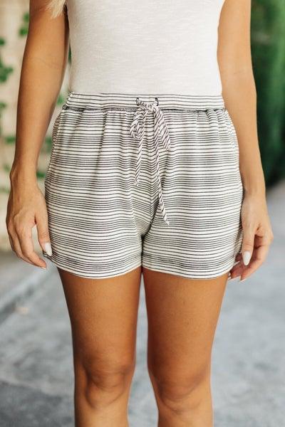 Cozy In Stripes Shorts in Gray