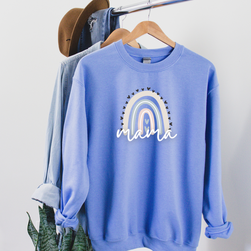 Mama Pastel Rainbow Graphic Tee Pullover
