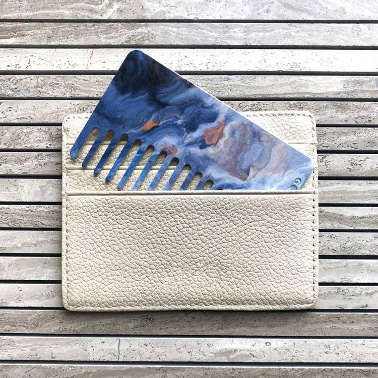 Sky Blue Agate Go-Comb   Plastic Wallet-Sized Comb