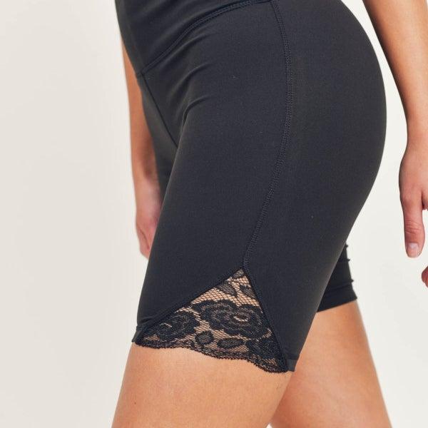 Floral Lace Highwaist Biker Shorts