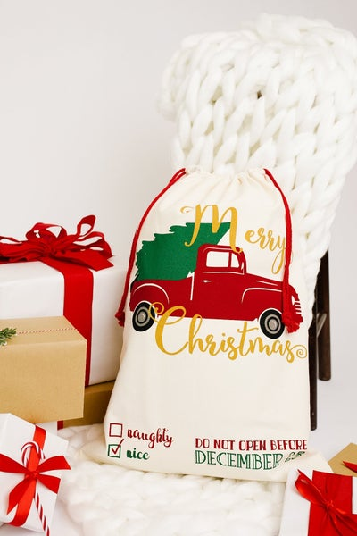 Christmas Trees And Trucks Santa Sack