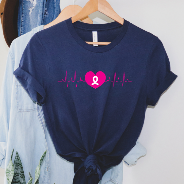 Pink Ribbon Heart Graphic Tee