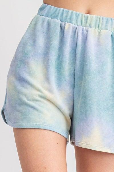 Tie Dye French Terry Loungewear Shorts - Dusty Jade Blue