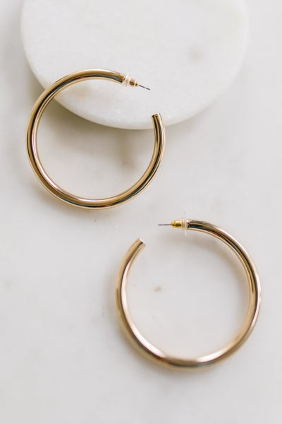 Solid Gold Hoops