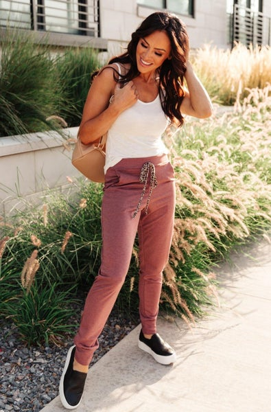 Lazy Leopard Joggers in Burgundy