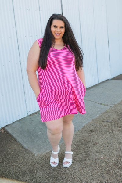 Hot to Trot Sleeveless Swing Dress in Hot Pink