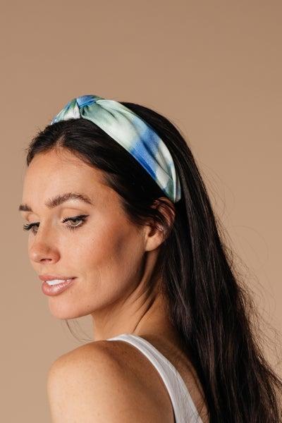 Tie Dye The Knot Headband In Blue & Green