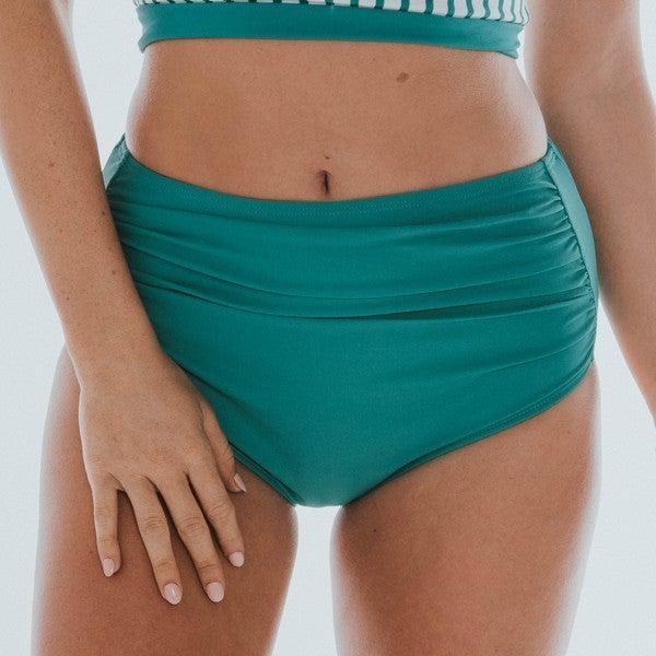 BAREFOOT - Women's Green Midi Ruched Bottom