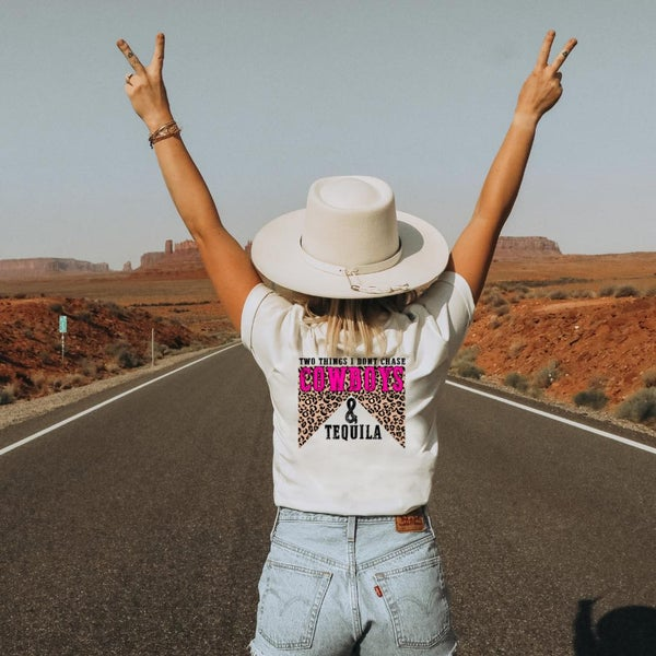 Don't Chase Cowboys - Pink Leopard - Graphic Tee