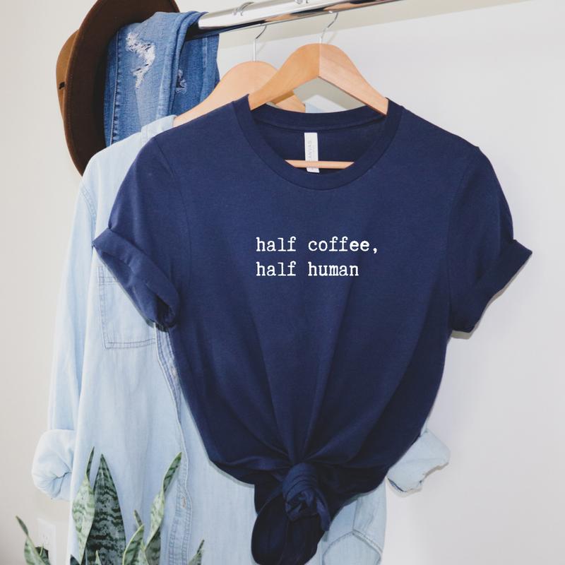 Half Coffee Half Human Graphic Tee