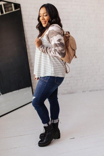 Camo & Stripes Raglan Top