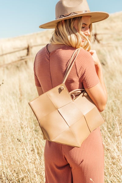 Woven Tote in Brown