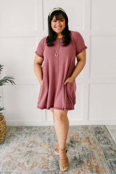 Best Of The Basic Tee Shirt Dress in Burgundy