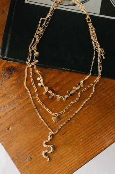 Snake Layered Pendant Necklace