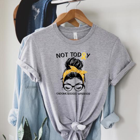 Messy Bun Endometriosis Warrior Graphic Tee
