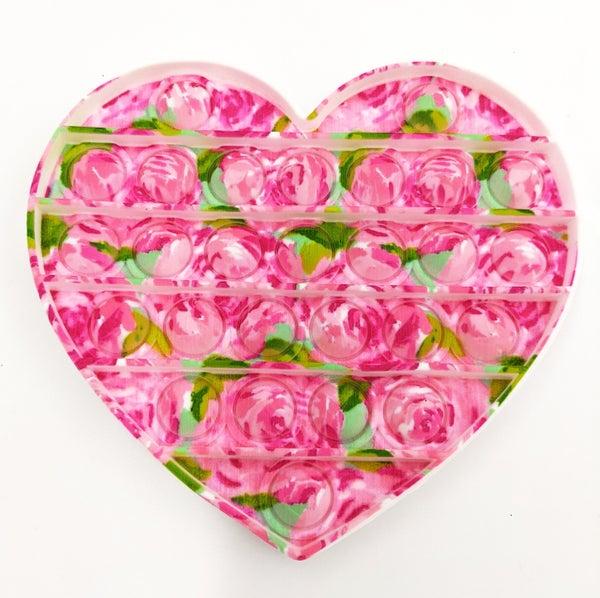 Pink Rose Heart Pop It