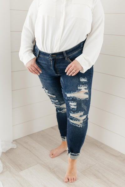 Ripped and Torn Dark Wash Jeans