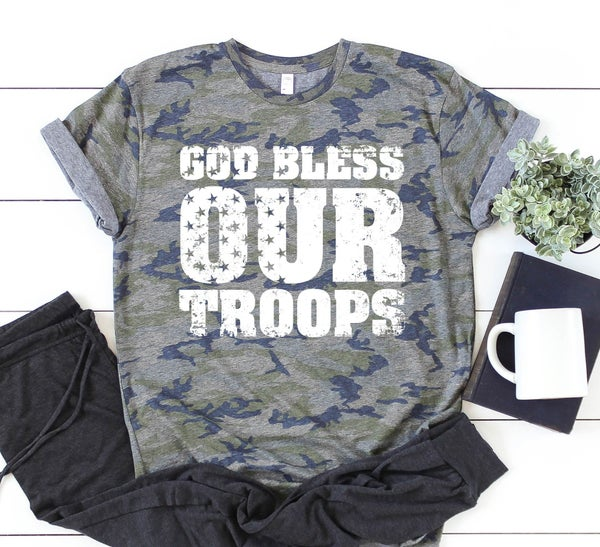 ❤️God Bless Our Troops Camo Graphic Tee  ❤️