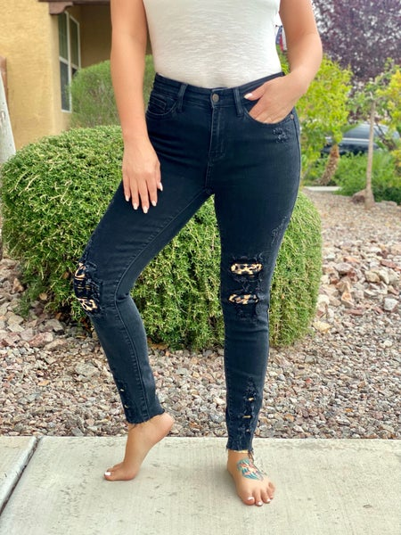 Judy Blue Rawr Black Leopard Patch Skinny