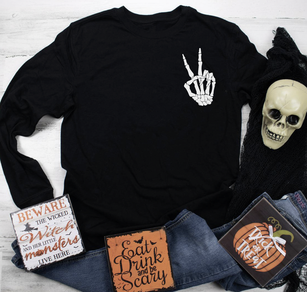 Peace Skeleton Hand Graphic Pullover