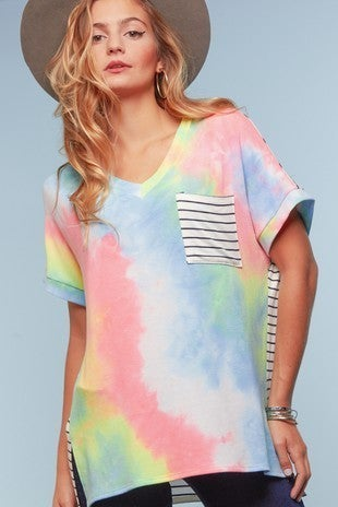 Neon Swirl Tie Dye V Neck Dolman Sleeve Top