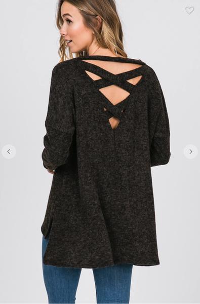 Criss Cross Back Basic Sweater
