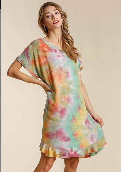 Linen Frayed Hem Dress
