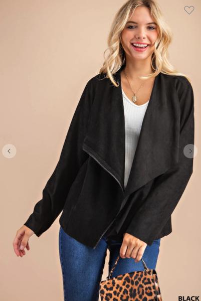 Zip Front Suede Jacket
