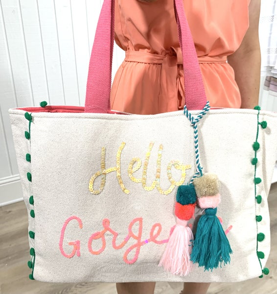 Hello Gorgeous Beach Bag