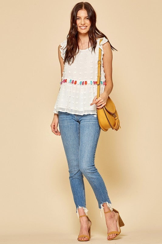 Swiss Dot Tassel Blouse