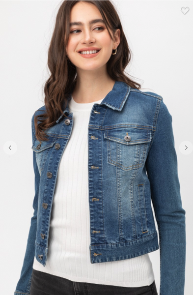 Stretchy Cropped Denim Jacket