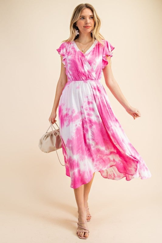 Ruffle Sleeve Tie Dye Dress