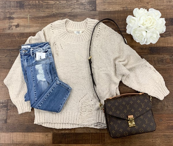 Distressed Oatmeal Pullover