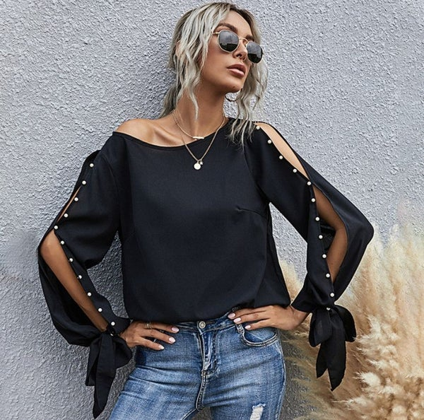 Pearl Cut Out Sleeve Blouse