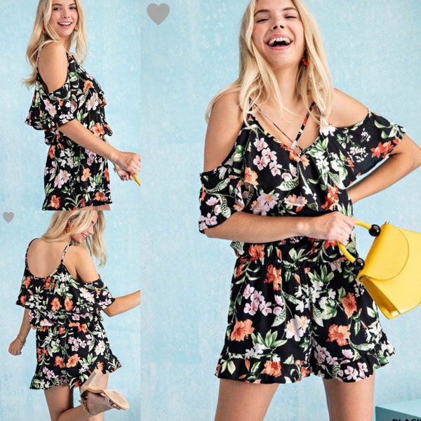 Tropical Criss Cross Romper *Final Sale*