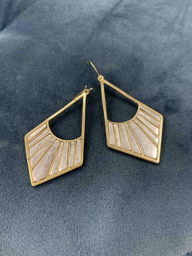Diamond Shaped Mixed Metal Earrings