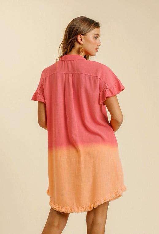 Linen Dip Dye Dress