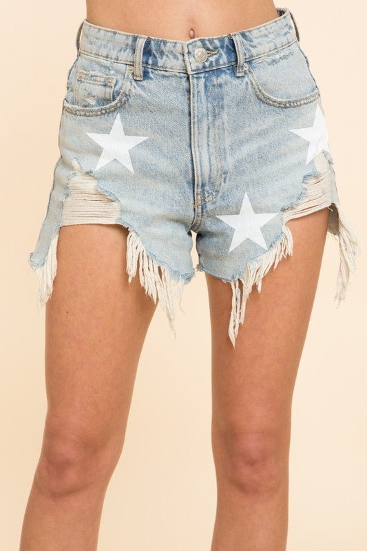 Distressed Star Denim Shorts