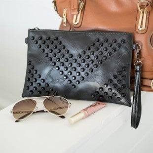 Leather Studded Wristlet