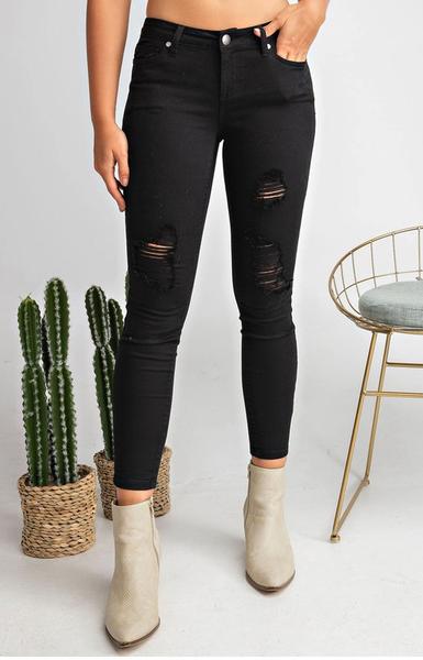 Skinny Distressed Pull On Pant