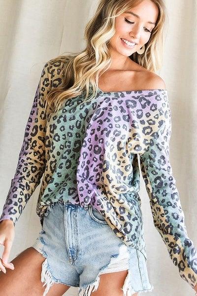 Mardi Gras Leopard Top *Final Sale*