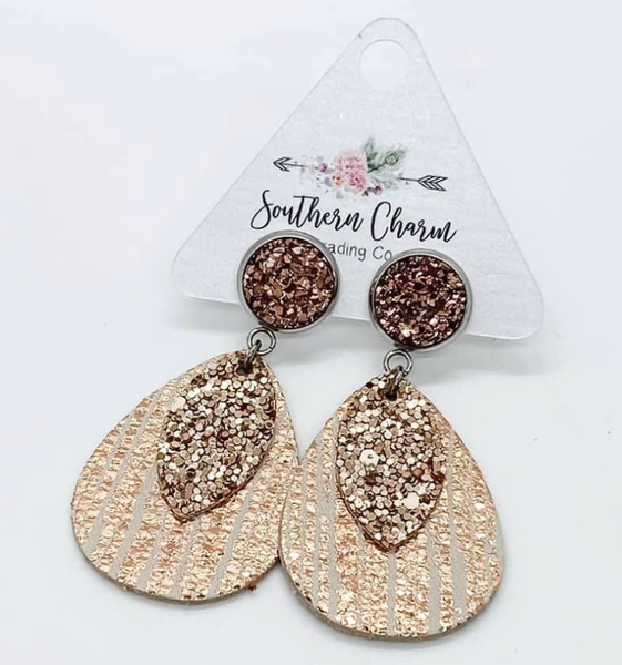 Rose Gold Sparkle Layered Earrings
