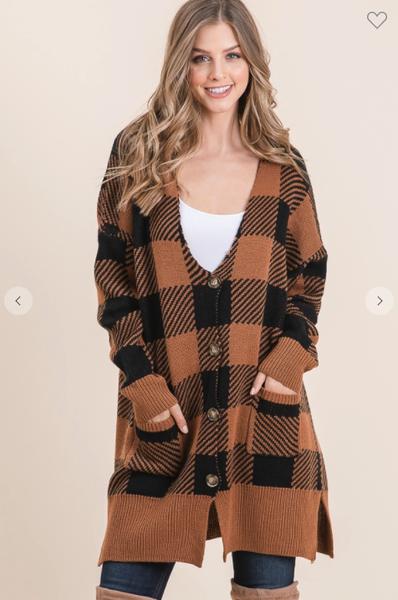 Taylor Bold Plaid Sweater Cardi