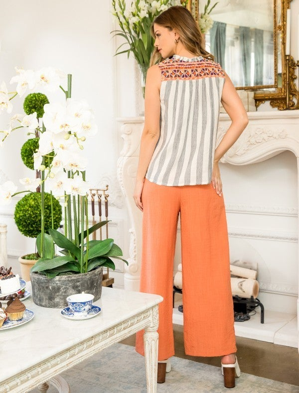 Stripe Embroidered Top with Tassels